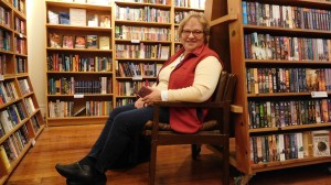 My friend Susan Bickford hangs out in the comfy bookstore, waiting for the party to get started.